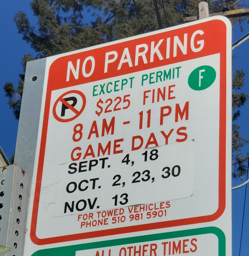 Picture of a parking restrictions sign regarding Cal Football  Game Days