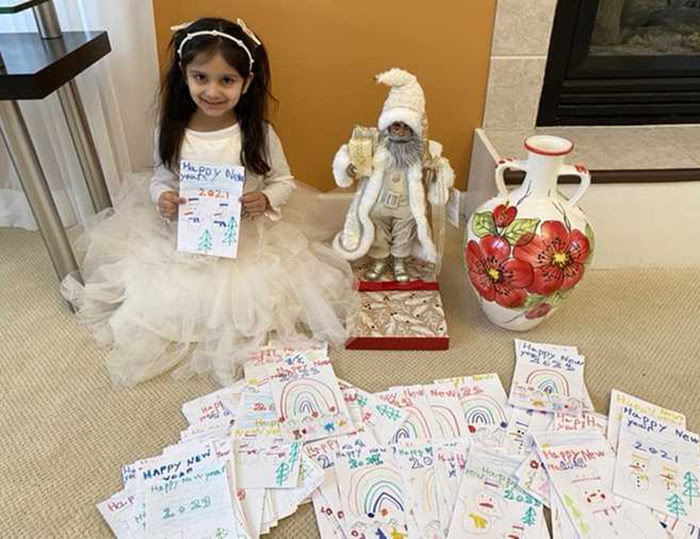 Five-year-old in New York makes 200 cards for the elderly