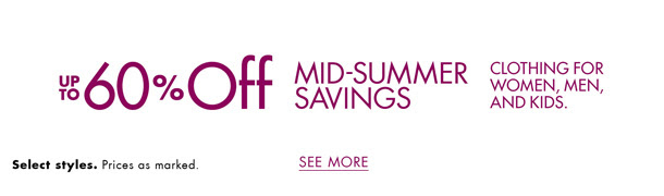 Up to 60% Off Clothing, Shoes.