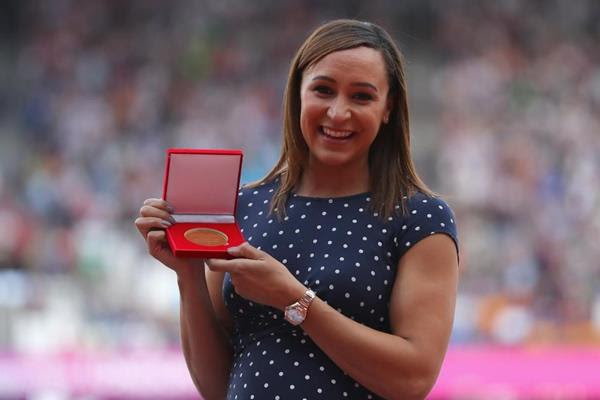 Jessica Ennis-Hill is awarded the reallocated 2011 world heptathlon gold medal at the IAAF World Championships London 2017 (Getty Images)
