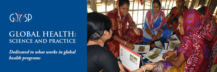 GHSP. GLOBAL HEALTH: SCIENCE AND PRACTICE. Dedicated to what works in global health programs. Photo of women at a clinic.