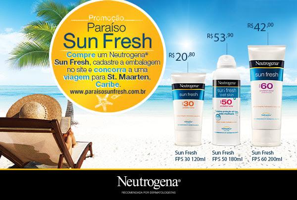 Promoção Paraíso Sun Fresh - Compre um Neutrogena Sun Fresh, cadastre a embalagem no site e concorra a uma viagem para St. Maarten, Caribe - www.paraisosunfresh.com.br