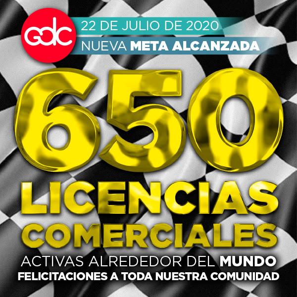 650 Licencias Comerciales alrededor del mundo