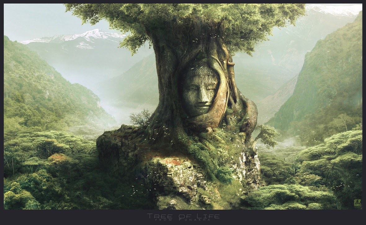 1600x985 9705 Tree of Life 2d landscape tree fantasy picture image digital art