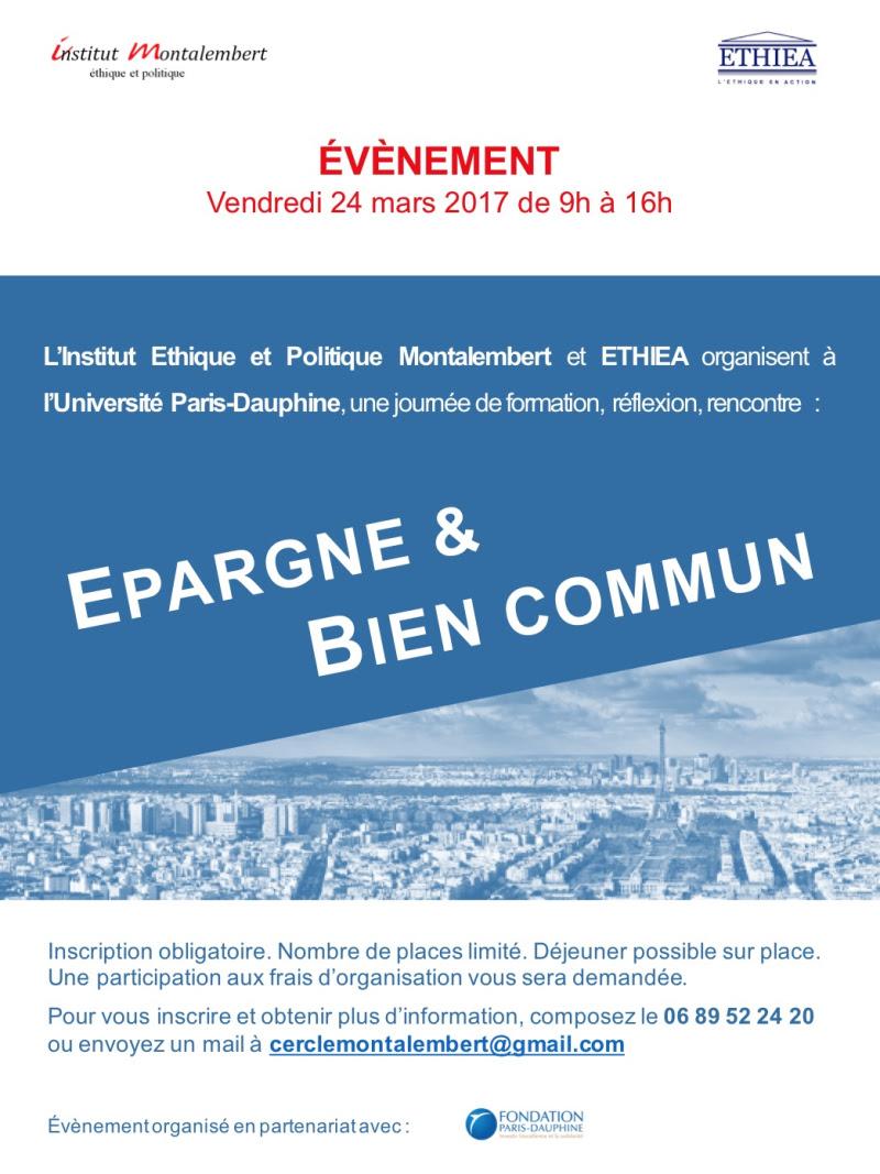 Colloque Epargne et bien commun 24 Mars 2017 PARIS-DAUPHINE Inscription
