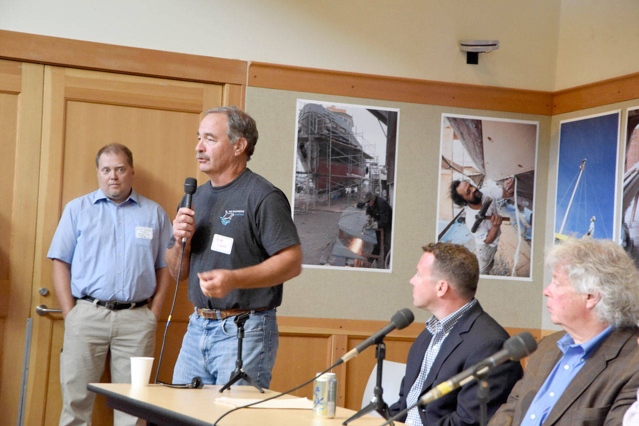 Port of Port Townsend commissioner Pete Hanke, who operates Puget Sound Express out of the Point Hudson Marina, said he was excited about the maritime trades study results. (Bill Curtsinger/Port Townsend Marine Trades Association)