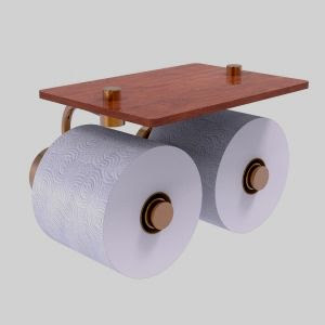 Dottingham double roll TP holder with wood shelf