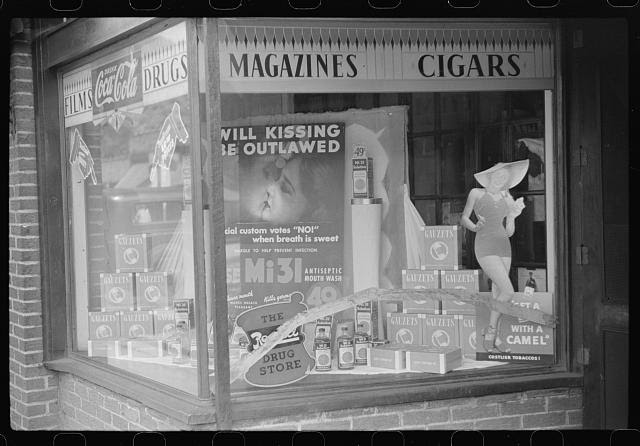 Osage, on Scott's Run, West Virginia. Drugstore window display in mining town