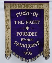 Server-1:2017:Clients:PHM:Images:Manchester Suffragette Banner:The Manchester suffragette banner in the Conservation Studio at PHM.jpg