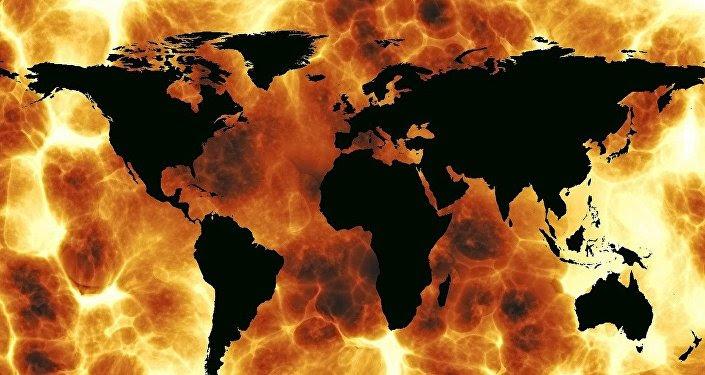 Mapa del mundo en el fuego