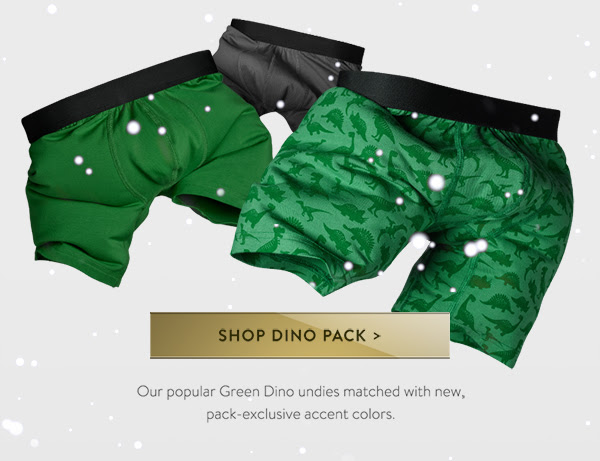 SHOP Dino PACK | Our popular Green Dino undies matched with new, pack-exclusive accent colors.