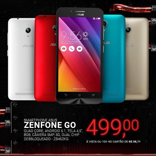 Smartphone Asus Zenfone Go ZB452KG, Quad Core, Android 5.1, Tela 4,5´, 8GB,Câmera 5MP, 3G, Dual Chip Desbloqueado