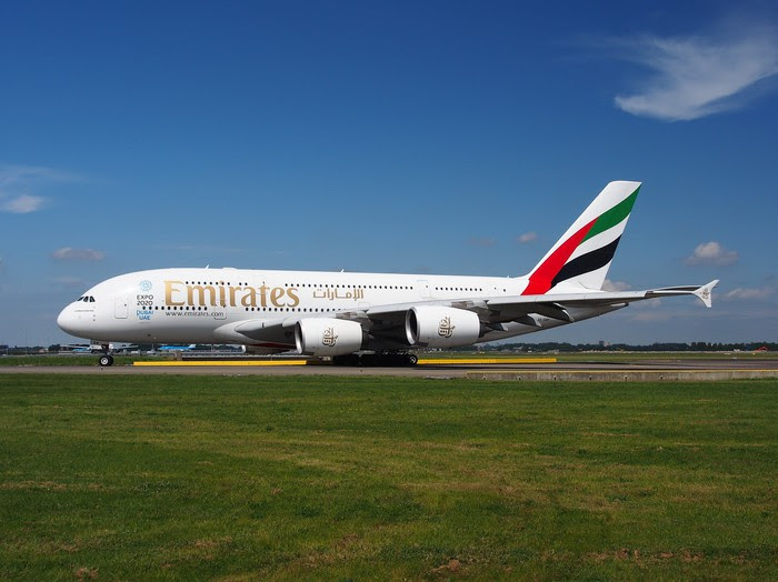 An Emirates Airbus A380 airplane.