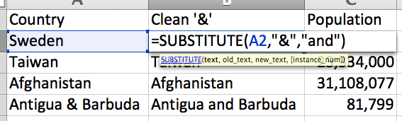 =SUBSTITUTE applied to country names