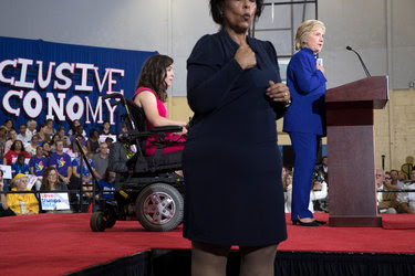 Hillary Clinton called for more job opportunities for the disabled in a speech Wednesday in Orlando, Fla. She was introduced by a disability activist, Anastasia Somoza.