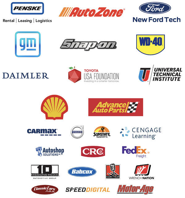 The logos of all TechForce Foundation corporate partners, including Penske Truck Leasing, AutoZone, New Ford Tech, General Motors, Snap-on Tools, WD-40 Company, Daimler, Toyota USA Foundation, Universal Technical Institute, Shell Lubricants, Advance Auto Parts, Carmax, Volvo, Sunstate Equipment, Cengage Learning, AutoShop Solutions, CRC Industries, FedEx Freight, 10 Missions Media, Babcox Media, CarsYeah! Podcast, Wrench Nation, ClassicCars.com, SpeedDigital and MotorAge Magazine.