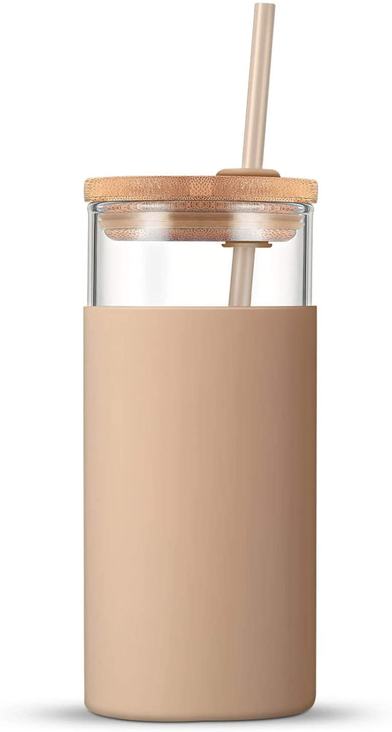 Tronco 20oz Glass Tumbler Glass Water Bottle Straw Silicone Protective Sleeve Bamboo Lid - BPA Free, $15.99 @amazon.com