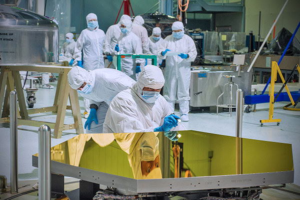 Technicians and scientists at NASA's Goddard Space Flight Center in Greenbelt, Maryland.