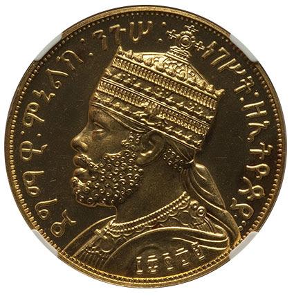 Ethiopia: Menelik II gold Proof Fantasy Talari EE 1889 (1897) PR64 NGC