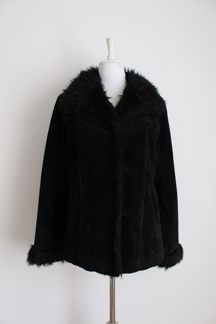 GENUINE SUEDE LEATHER BLACK FAUX FUR JACKET - SIZE 12