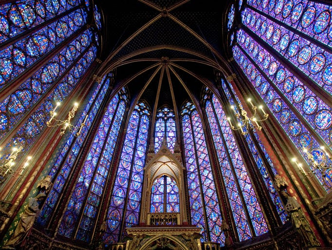 Lovers of                                                           stained glass                                                           will have to                                                           pick their                                                           jaws up off                                                           the floor upon                                                           ascending the                                                           stairs into                                                           the main                                                           chamber of                                                             Sainte-Chapelle                                                           in Paris.                                                           Besides being                                                           home to the                                                           oldest stained                                                           glass window                                                           in the city,                                                           the flamboyant                                                           Gothic gem has                                                           6,458 square                                                           feet of                                                           stained                                                           glass.