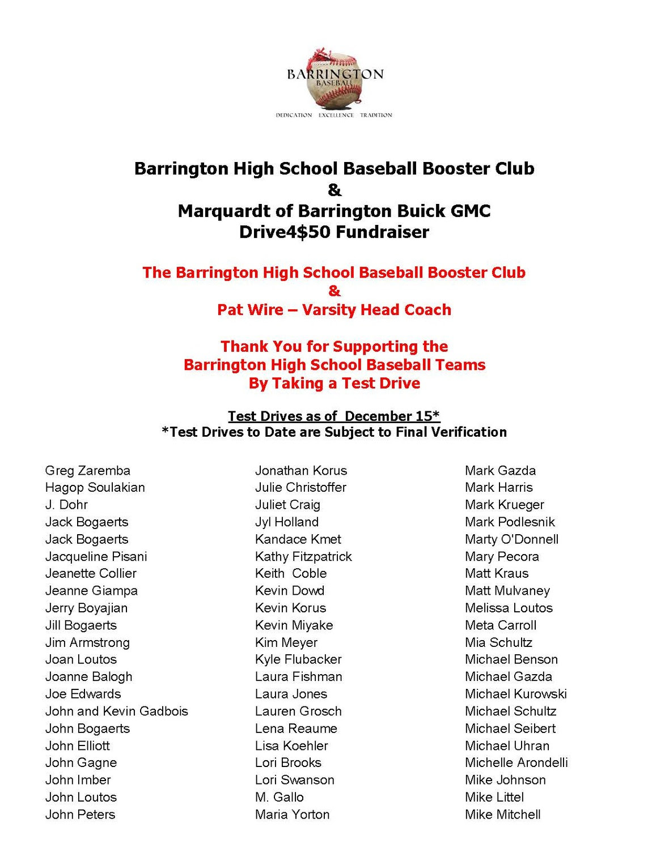Barrington High School Baseball Booster Club Drive4 50 Drivers Update 121516 Page 2