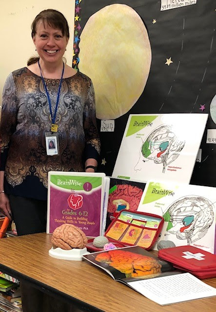 School Psychologist Karyn Singley Blair with some of her Brainwise Tools