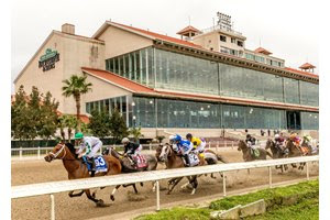 Wells Bayou leads throughout in the Louisiana Derby at Fair Grounds Race Course on what proved to be the final day of the winter/spring meet