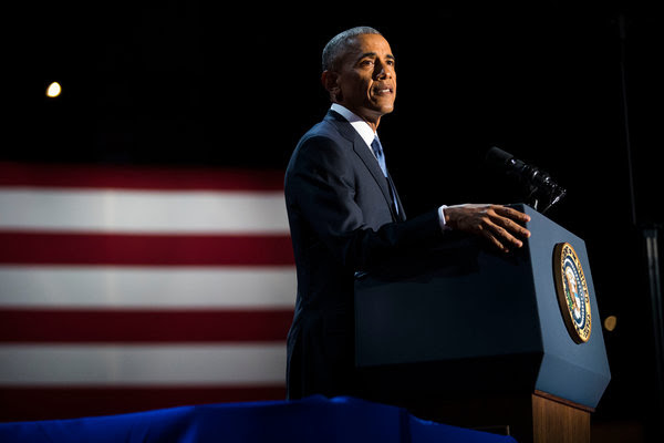 President Barack Obama delivered his farewell address in Chicago on Jan. 10. The National Urban League warned that gains in racial equality made under his tenure were threatened by President Trump and his policies.