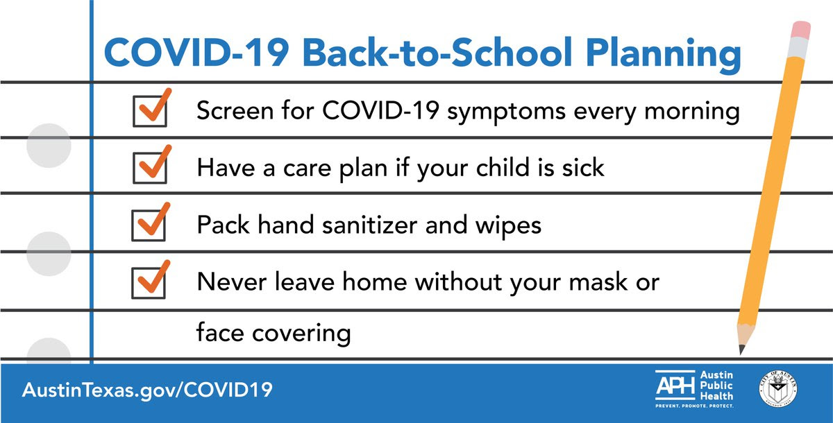 A COVID-19 Back-to-School Planning checklist with orange checks marking off multiple plans that are completed.