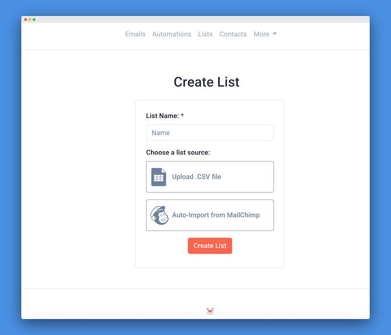 Create List MailChimp Import