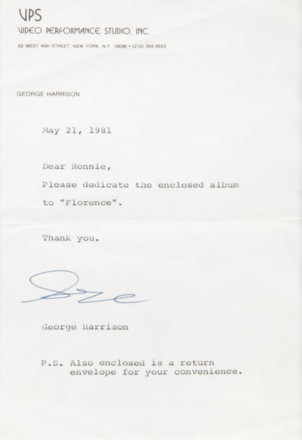 GEORGE HARRISON LETTER TO RONNIE JAMES DIO