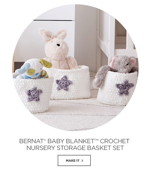 Bernat® Baby Blanket™ Crochet Nursery Storage Basket Set