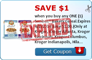 Save $1.00 when you buy any ONE (1) Sunbelt® Bakery Cereal.Expires 4/2/2014.Save $1.00.(Only at Kroger, Kroger Atlanta, Kroger Cincinnati, Kroger Columbus, Kroger Indianapolis, Hilander, PayLess, Owen's, Kroger Memphis, Kroger Michigan, Kroger Mid Atlanti