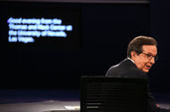 Chris Wallace before the start of the debate, at the University of Nevada, Las Vegas. He was the first Fox News journalist chosen to moderate a general-election debate.