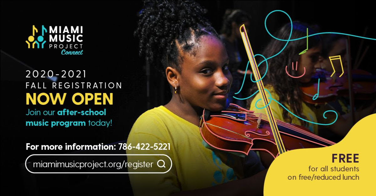 registration flyer, child holding violin, contact info