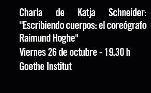 Charla de Katja Schneider. Viernes 26 de octubre - 19:30 h. Goethe Institut