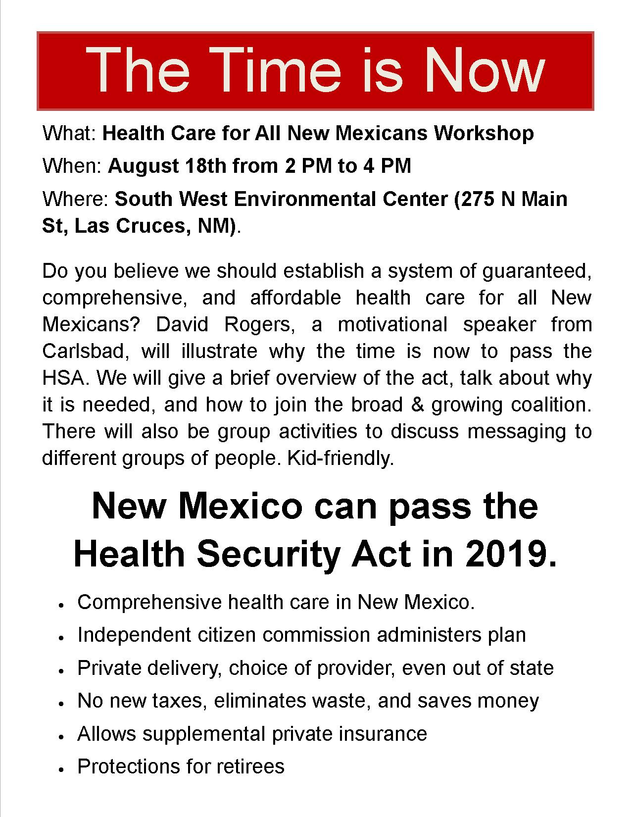 The Time Is Now: Healthcare For All New Mexicans @ SWEC | Las Cruces | New Mexico | United States