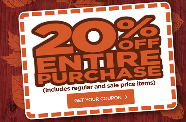 20% OFF ENTIRE PURCHASE. GET YOUR COUPON