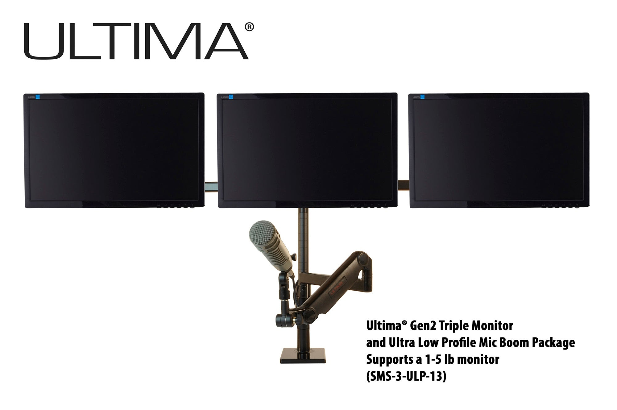 Image of OC White SMS-3-ULP-13 & SMS-LD-3-ULP-13 Series ProBoom® Ultima® Gen2 Triple Monitor and Mic Boom SMS Package