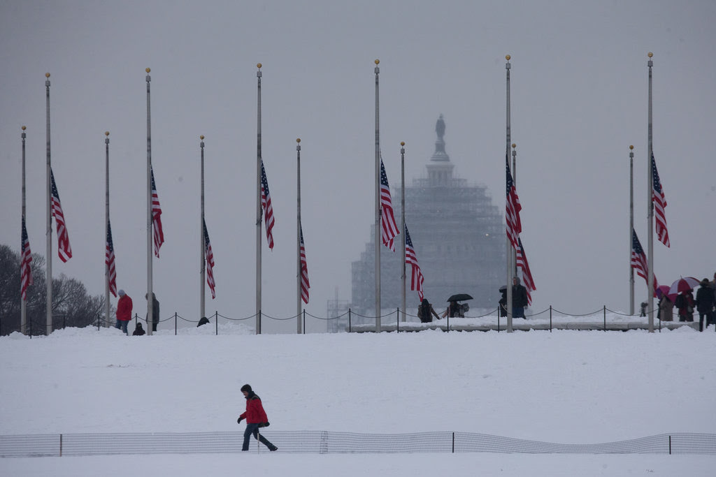 Flags at half-staff at the Capitol on Monday for Justice Antonin Scalia, who died on Saturday.
