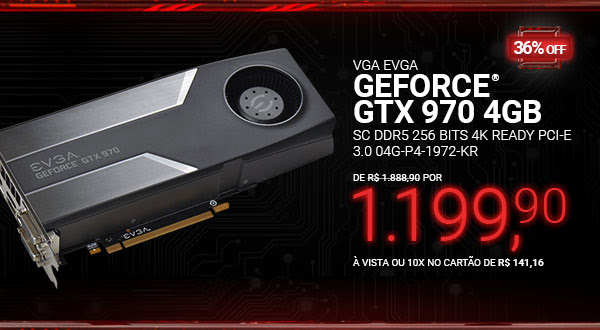 Placa de Vídeo VGA EVGA GeForce GTX 970 4GB SC DDR5 256 bits 4K Ready PCI-E 3.0 04G-P4-1972-KR