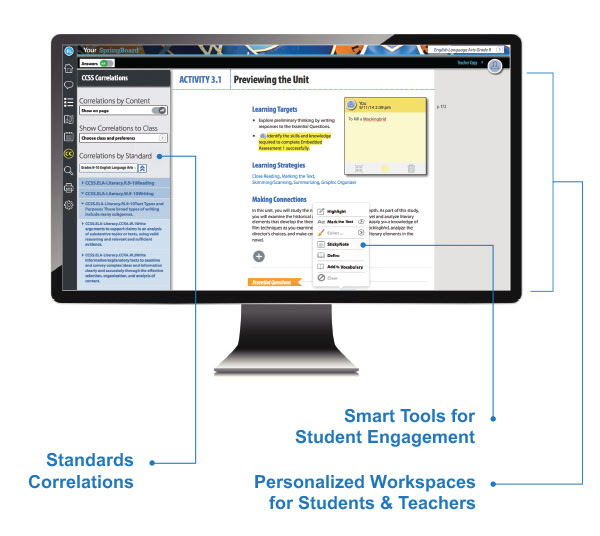 Previewing the Unit. Standard Correlations. Smart Tools for Student Engagement. Personalized Workspaces for Students and Teachers