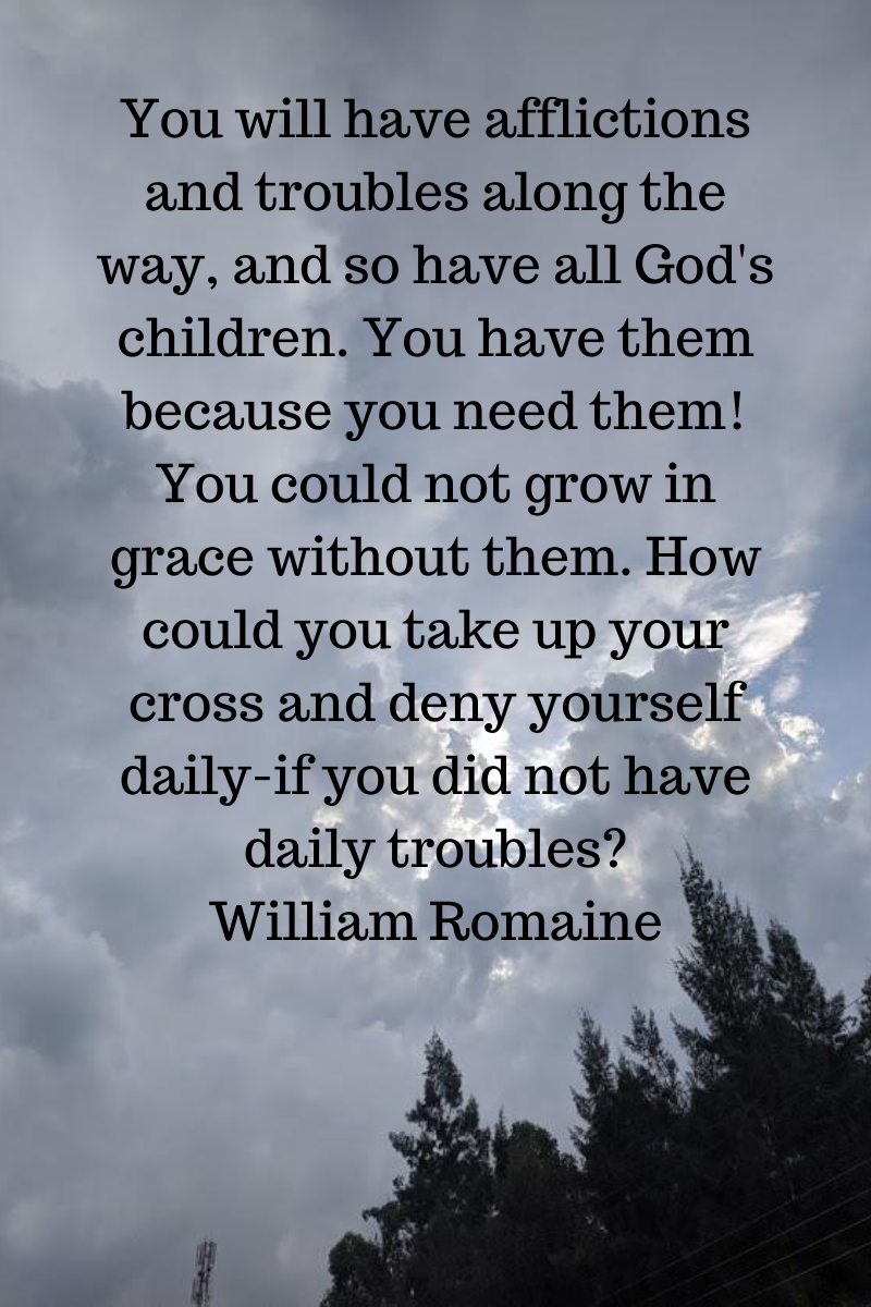 You will have afflictions and troubles along the way, and so have all God's children. You have them because you need them! You could not grow in grace without them. How could you take up your cross and deny yoursel.png