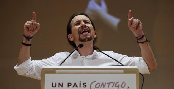El líder de Podemos, Pablo Iglesias, durante el acto de campaña en Cádiz.- REUTERS