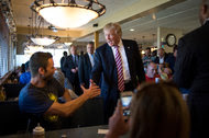 Donald J. Trump at a diner in Brook Park, Ohio, on Monday. Almost none of Gov. John R. Kasich's seasoned political staff are helping Mr. Trump in his close battle here with Hillary Clinton.