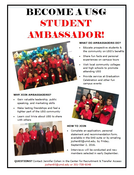 Apply to be a USG Student Ambassador
