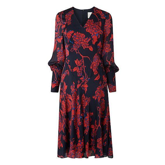 Mina Rose Print Silk Dress