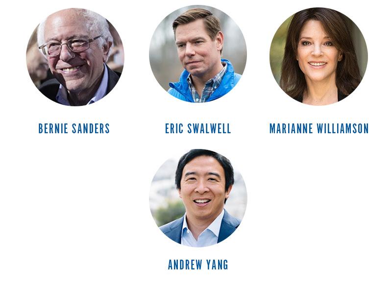 Bernie Sanders, Eric Swalwell, Marianne Williamson, Andrew Yang