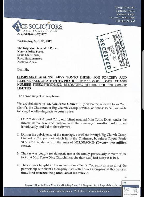 Churchill OIlakunle files petition to IG over Tonto Dikeh's alleged illegal sale of his SUV [LindaIkeji]